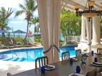 New Mansion steps to pristine beach with superb Caribbean views, pool & staff