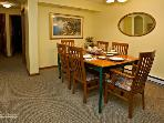 Comfortable seating for six in dining room.