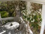 Front dining deck in Spring