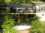 Lake view of the house and deck.