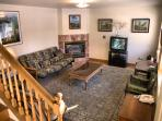 Living room with gas marble fireplace, TV/ internet