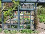 Garden trellis with stained glass