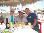 My dad and I, and our amigo Manny, having a nice lunch out at Tecelote beach