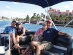 with friends riding the ferry from town, back to the resort
