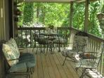 38' Back Deck with Comfortable Seating, Table and Chairs & Gas Grill.