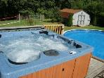Powerful 6 Person Hot Tub, 24' Above Ground Pool & BigLevel  Lawn Back Yard to Play Games