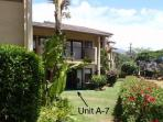 Our unit A7 lanai, ground floor, located at the end of the building, with an ocean view