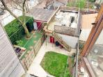 Ariel view of backyard and deck