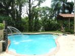Our private pool with waterfall.