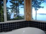 The view from the soaking tub in the master bedroom.