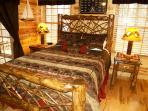 Heavenly7- Romantic main floor master suite with newly upgraded Cedar Twig Log Bed.