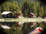 montana family reunion retreat,3 cabins,lake,river