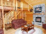 Cathedral Ceilings, Fireplace, Large Flat Screen TV