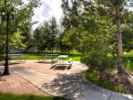 Common area park next door with picnic tables, BBQ, grass play area