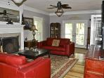 The large family room nice fireplace