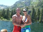 After taking a dip in Emerald Bay from our boat.