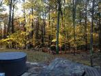 Hot tub with fall view