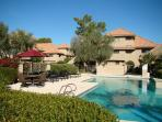 Cozy ground floor condo with pool view and patio