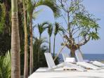 Sun deck overlooking the Bali sea and surrounded by a palm and frangipani trees