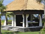 Relaxation pavilion with elevated 9 square meter daybed and dedicated massage corner