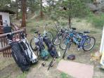 Bicycles, Golf clubs, fishing poles, Hiking Poles, Snow sleds, PLENTY of toys for your vacation for everyone!!