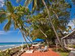 Tropical West We Go on sublime white sand beach with alfresco showers & staff