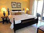 Master bedroom with king bed, private bath, and private terrace.