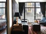 Enjoy quiet comfort while overlooking Times Square- New mattress for pullout sofabed