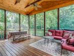 Screened Porch with outdoor dining & seating with Outdoor Speakers