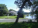 View from Blue Pineapple of Somesville Library and Mill Pond