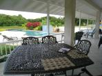 8 seater dining table in the patio