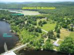 Aerial view of our 22.6 acre waterfront property, with over 1000' waterfront on two bodies of water.