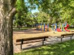 City park in back (playground, ball fields, pavilion)