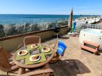 Oceanfront unit with 4br/4ba, brand new, beach patio with private spa, bbq