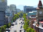 View of Victoria's Douglas Street towards mountains, taken from rootop terrace