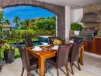 Outdoor Covered Veranda Dining and Viking Gas Grill with Fridge. Chaise Lounge Chairs and Outdoor Conversation Area in...