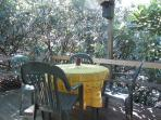 Deck with table & chairs surrounded by lush rhododendron