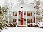 Colonial Pines Inn in Winter - Cottage is immeditely to the Right