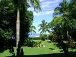 The front lawn with sea beyond.