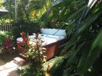 Hot Springs 6 person spa in private courtyard