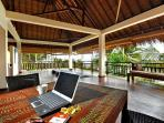 The timbered yoga verandah 15 x 5 m , with yoga equipment for 18  - suitable for yoga retreats
