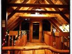 The loft at night is like a private tree house