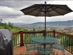 Outdoor Dining & Gas Grill - a Great View even on this rainy day!