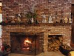the fire place at Christmas time