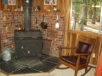 Build a fire in our wood-burning stove on chilly evenings.