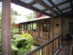 Long covered walkway from Aloha Moon Cottage to Hula Moon Cottage