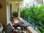 lovely, large terrace overlooking the pool and courtyard