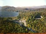 Aerial of Lake Toxaway and Toxaway Falls