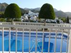 View towards mountains from upper swimming pool
