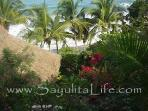 SL palapa and beach from above